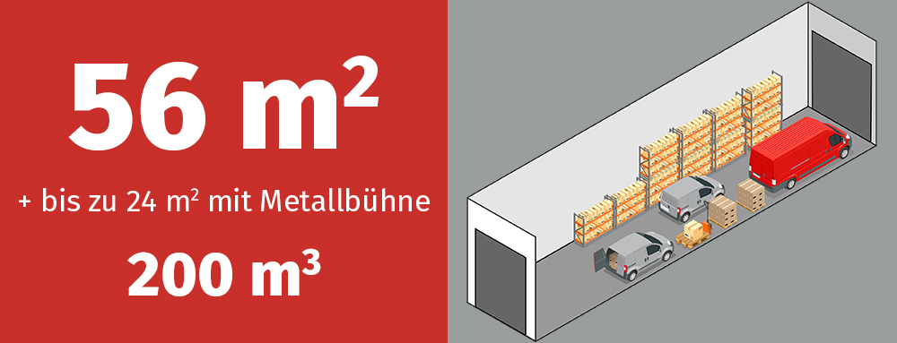 Variante GaragenMAX 200L: 200 Kubikmeter Platz, Zugang von zwei Seiten