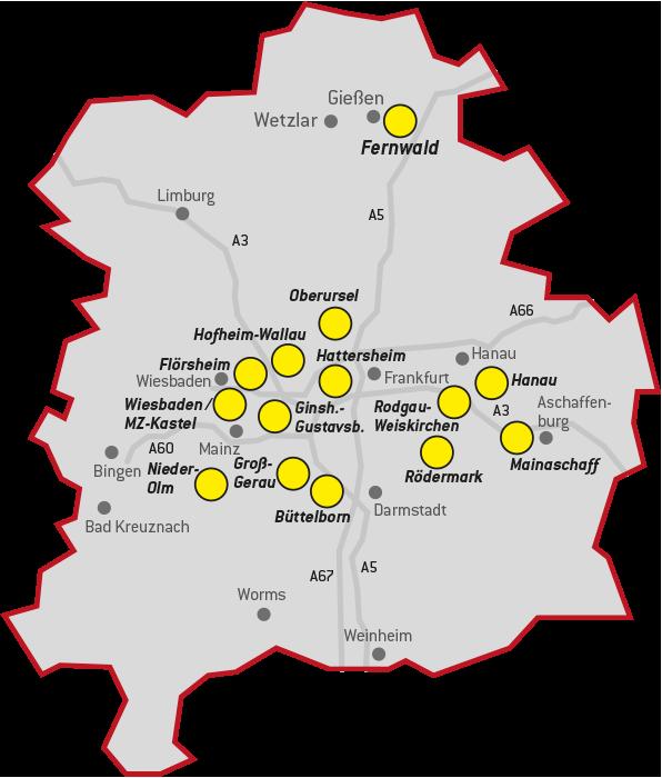 Die Standorte von GaragenMAX: Schon über 10 Mal im Rhein-Main-Gebiet